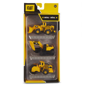 Cat Metal 3 Pack Front Loader, Excavator, Steam Roller