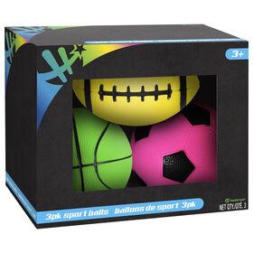 3 Pack Neon Sports Balls