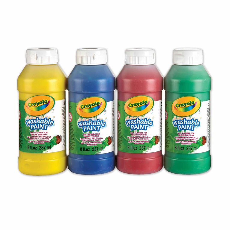 Crayola Washable Paints, 237 mL, 4 Ct