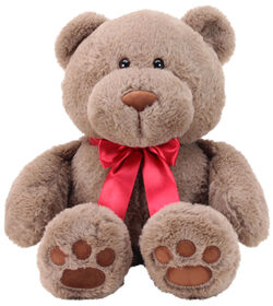 """Animal Adventure 13"""" Seated Ultra-Soft Plush Bear with a Red Ribbon"""