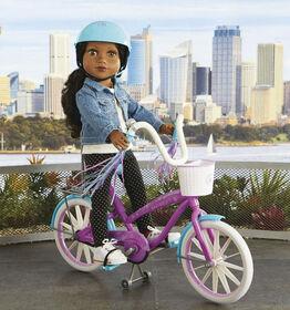 Journey Girls Doll Bike and Helmet - Purple & blue