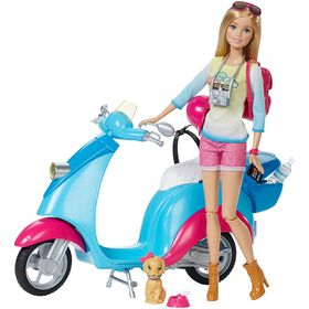 Barbie Pink Passport - Doll & Scooter - R Exclusive