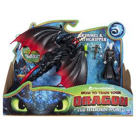 How To Train Your Dragon, Deathgripper et Grimmel, Dragon avec figurine Viking en armure.