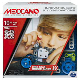 Meccano, Set 1, Quick Builds, STEAM Building Kit with Real Tools