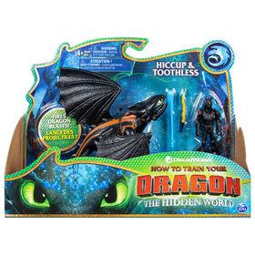 How To Train Your Dragon, Krokmou et Harold, Dragon avec figurine Viking en armure.