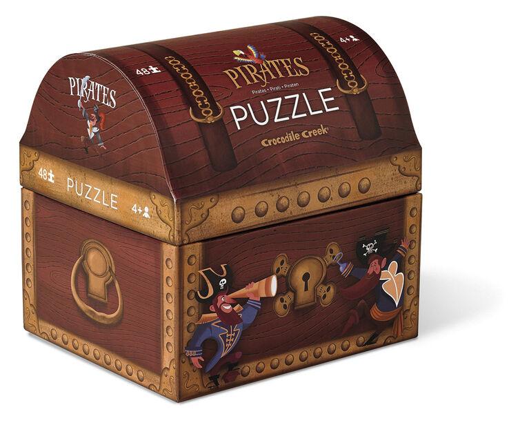 Crocodile Creek - Pirate's Treasure Double Fun 48 piece Jigsaw Puzzle in Treasure Trunk Shaped Box