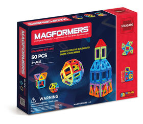 Magformers - Ensemble de base arc-en-ciel de 50 pièces