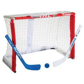 Cage de gardien de but de mini-hockey Plier-et-Emporter avec bâton de Franklin Sports NHL