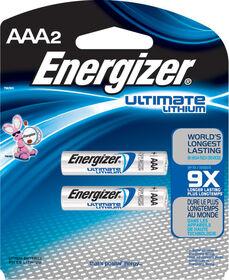 Paquet de 2 piles AAA Energizer Ultimate Lithium