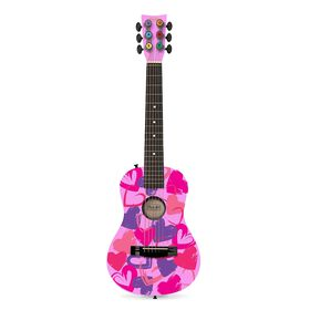 """First Act Pink with Hearts 30"""" Acoustic Guitar"""