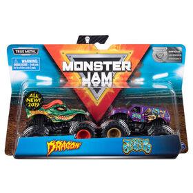 Monster Jam, Coffret de 2 véhicules authentiques Dragon vs Jester, Monster trucks en métal moulé à l'échelle 1:64