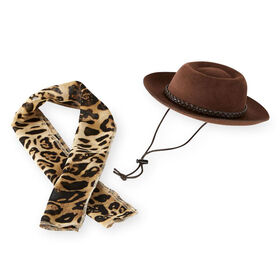 Journey Girls Outback Hat and Leopard Print Scarf Fashion Hat Pack for 18-inch Doll