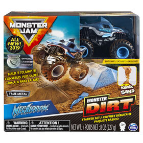 Coffret débutant Monster Dirt Megalodon, avec 226 g (8 oz) de Monster Dirt et un monster truck Monster Jam.