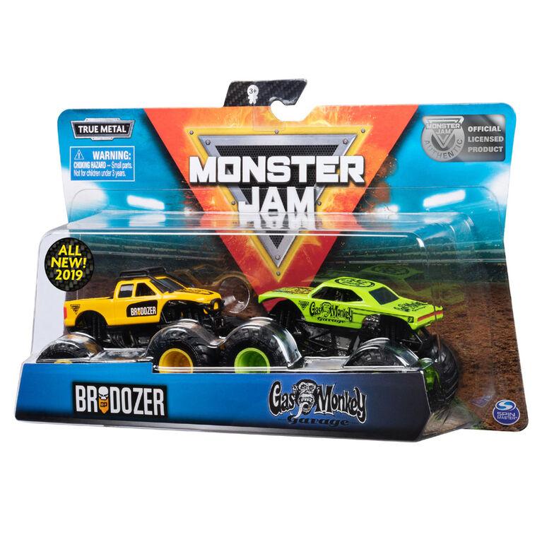 Monster Jam, Official Brodozer vs. Gas Monkey, 1:64 Scale, 2 Pack
