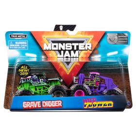 Monster Jam, Coffret de 2 véhicules authentiques Grave Digger vs Wild Flower, Monster trucks en métal moulé à l'échelle 1:64