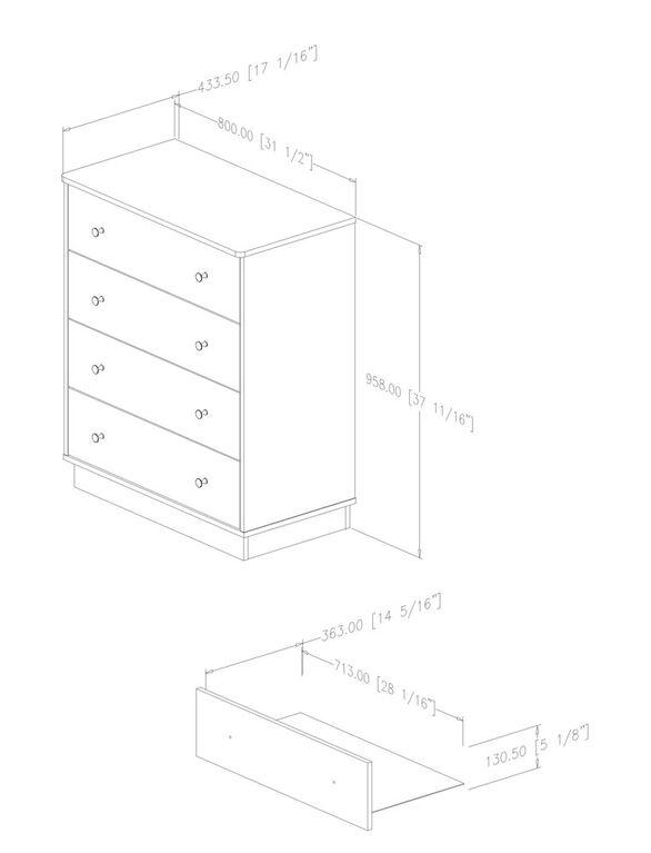 Litchi 4-Drawer Chest- Pure White