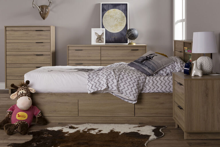 Fynn 5-Drawer Chest Dresser- Rustic Oak