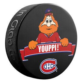 NHL Montreal Canadiens Youppi Mascot logo'd puck