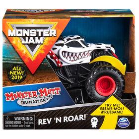 Monster Jam, Official Monster Mutt Dalmatian Rev 'N Roar Monster Truck, 1:43 Scale