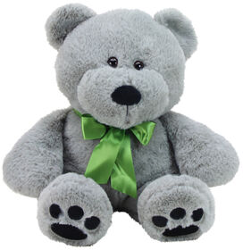 """Animal Adventure 13"""" Seated Ultra-Soft Plush Bear with a Green Ribbon"""