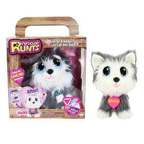 Rescue Runts! Husky Plush Dog (White/Gray)