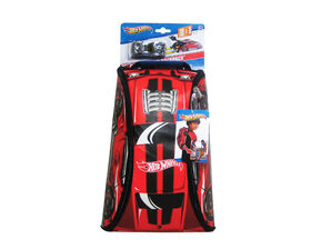 Hot Wheels ZipBin 45 Car Crash Red Racer Backpack w/ Car