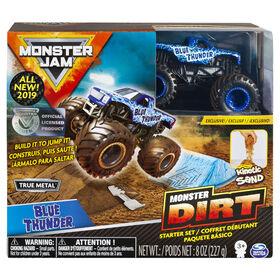 Coffret débutant Monster Dirt Blue Thunder, avec 226 g (8 oz) de Monster Dirt et un monster truck Monster Jam.