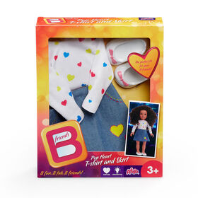 B Friends Pop Heart T-Shirt and Skirt Fashion Outfit for 18-inch Doll
