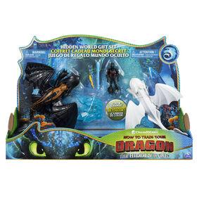 How To Train Your Dragon - Coffret cadeau Monde caché, Furie Nocturne blanche et Viking avec accessoire cristal. - Notre Exclusivité