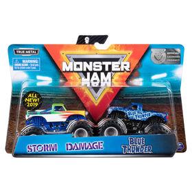 Monster Jam, Coffret de 2 véhicules authentiques Blue Thunder vs Storm Damage, Monster trucks en métal moulé à l'échelle 1:64
