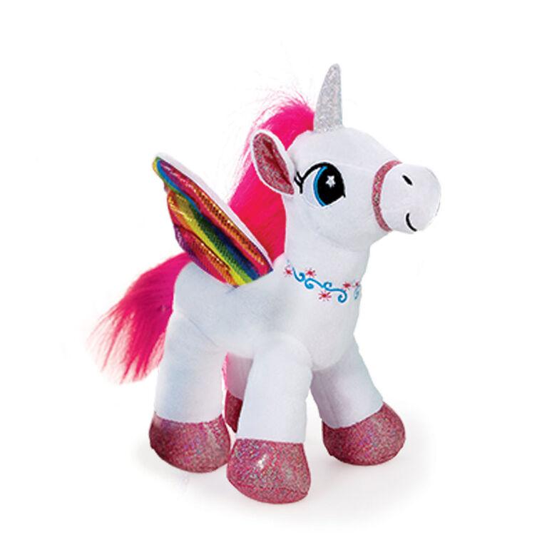 "Snuggle Buddies Rainbow Dream Unicorn 10"" Plush White"
