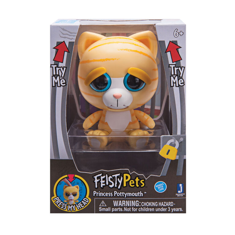 "Feisty Pets 4"" Vinyl Princess Potty Mouth Orange Cat"